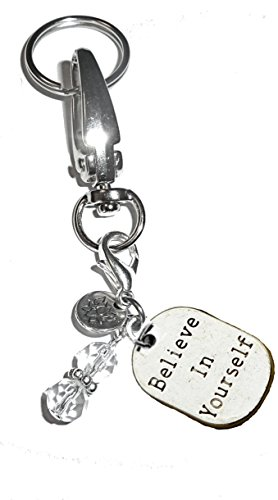 Message Charm Key Chain Ring, Women's Purse or Necklace Charm, Comes in a Gift Box! (Believe in - Bead Believe Message