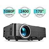 PHOOTAProjector, Full HD 1080P and 170'' Display Supported Mini Projector, 2400 Lux Portable Movie Projector with 50,000 Hrs LED Lamp Life, Compatible with TV Stick, PS4, HDMI, VGA, TF, AV and USB