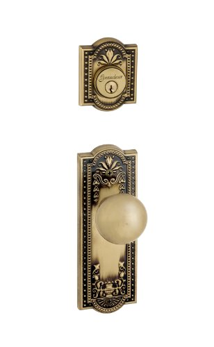 Brass Parthenon Single Cylinder - Grandeur Parthenon Plate with Fifth Avenue Knob and Matching Deadbolt Complete Single Cylinder Combo Pack Set, Vintage Brass