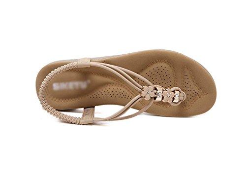 RuiMetall Strass Sandalen flache Schuhe Freizeitschuhe Sandalen gro?e Yards apricot