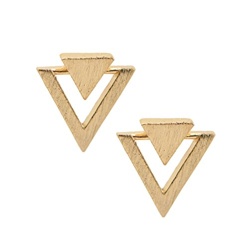 chelseachicNYC Handcrafted Brushed Metal Two Triangle Stud Earrings (Gold)