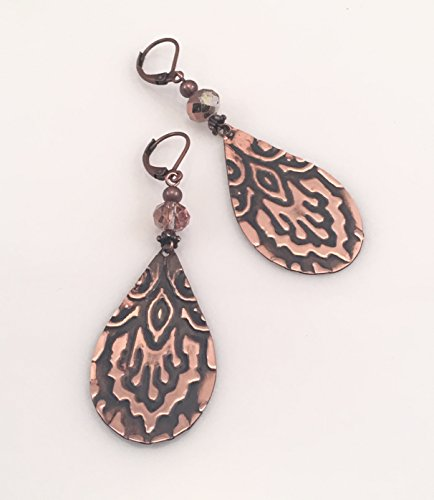 - Antiqued Patterned Copper with Crystal Earring