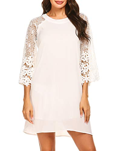 (OURS Womens Chiffon 3/4 Sleeve Floral Lace Loose Shift Dresses for Work White S)