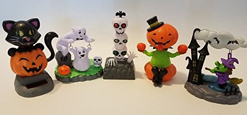 Solar Powered Halloween Figures Pumpkin Skull Witch Ghost Black Cat 5 Pack - H5]()