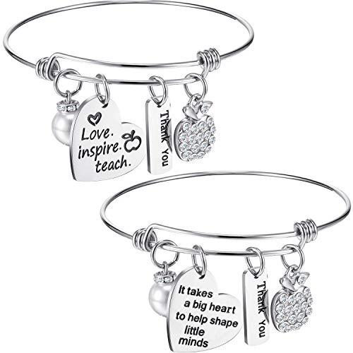 Zhanmai 2 Pack 2 Style Engraved Teacher Jewelry Bracelet Teacher Appreciation Gift Accessory Apple Bracelet Bangle for Women Teacher (Style B)