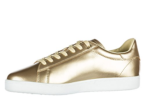 Emporio Armani EA7 Chaussures Baskets Sneakers Homme en Cuir Classic Or
