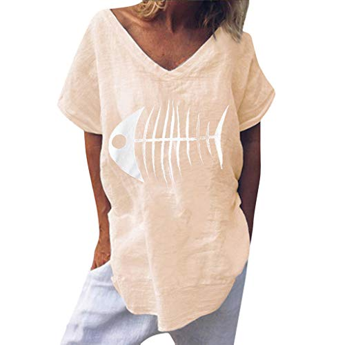 Casual Blouse for Women-Summer Funny Fish Bone Print Shirt V-Neck Blouse Short Sleeve Loose Tops Daily T-Shirt