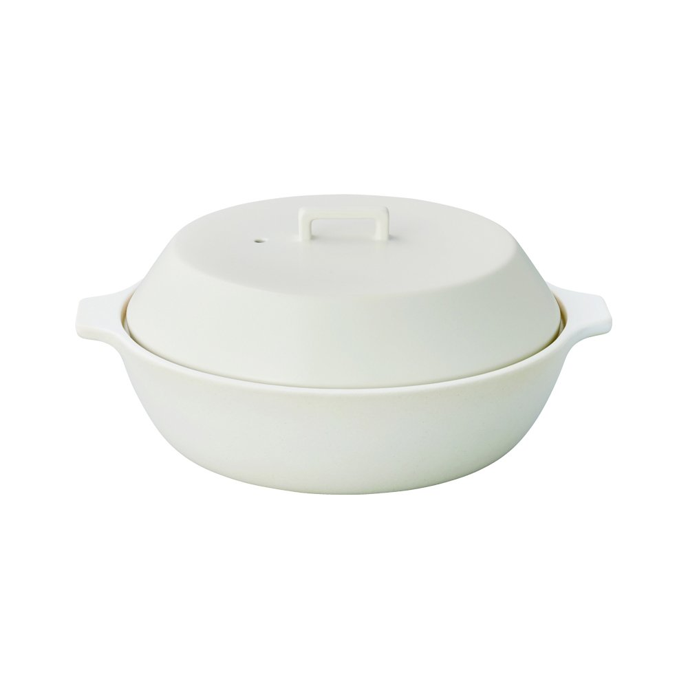 White 67.6 oz KAKOMI IH Donabe 2.5L Traditional Japanese Clay Pot - Steaming, Simmering, Stewing, Suitable for various cooking methods by Kinto