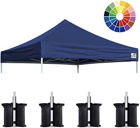 Eurmax New 10×10 Pop Up Canopy Replacement Canopy Tent Top Cover, Instant Ez Canopy Top Cover ONLY, Choose 30 Colors,Bonus 4PC Pack Canopy Weight Bag Navy Blue