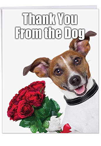 XL 'Thank You From the Dog' Card with Envelope 8.5 x 11 Inch - Appreciation Greeting Card with Cute Puppy Holding a Bouquet, Large Stationery for Birthdays, Holidays, Parties J3614 (Thank You Card From Dog)