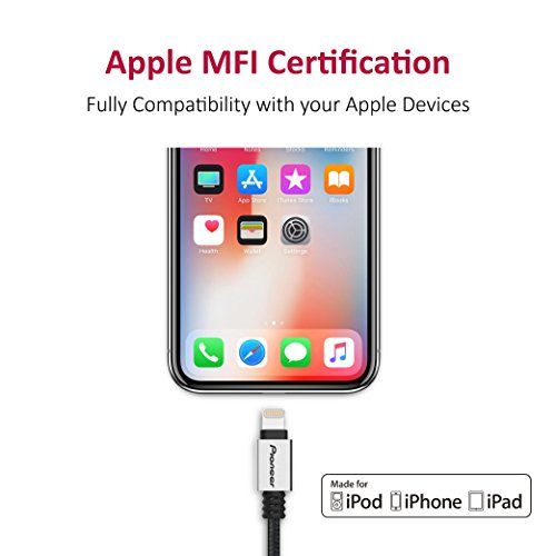 Pioneer Nylon Braided USB A to Lightning Cable With DuPont Kevlar, Apple MFi Certified, Compatible with iPhone X/8Plus/7 Plus/6s/ipad and more Lightning device - Black(1 Meter)