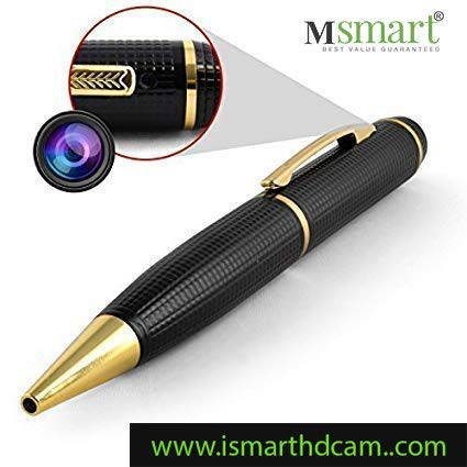 Machsmart 1080p Golden HD Pen Camera,64GB SD Card Support(not Included), 2  Mode Recording (HD Photo & Video), Free Card Reader & OTG Cable
