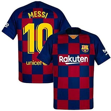 Lionel Messi Barcelona #10 Youth Soccer Jersey Home Short Sleeve Kit Shorts Kids Gift Set