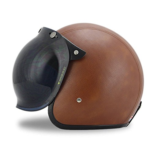Leather Helmet Shields (Woljay 3/4 Open Face helmet, Motorcycle Helmet Flat Leather with Bubble Shield Brown (XL))