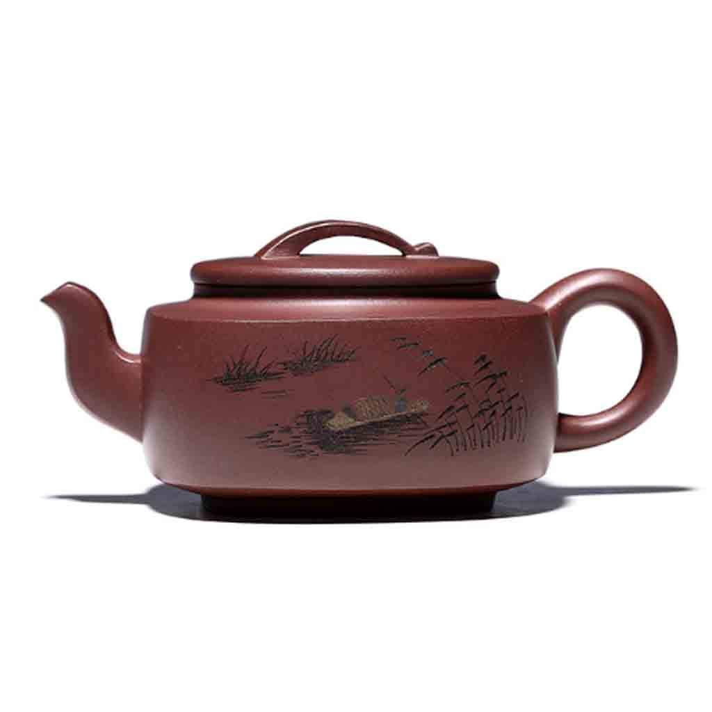 Tea Cozies Teapot Handmade Large Capacity teapot Square Tea Set Mixed Pot kung fu teapot Set Non-Ceramic Full Hand-Painted teapot (Color : Brown, Size : 16.4x7cm)