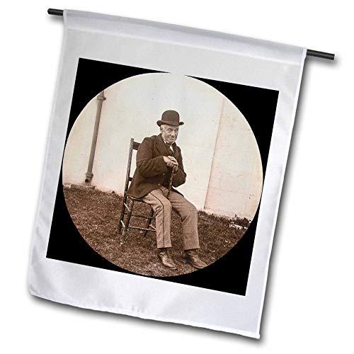 - 3dRose Scenes from The Past - Magic Lantern - 1890 Photo Gentleman with Derby Cap Vintage Portrait - 12 x 18 inch Garden Flag (fl_301247_1)