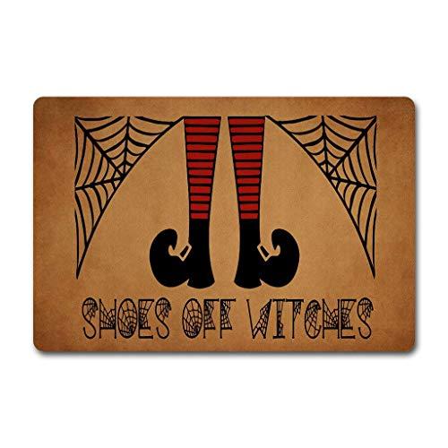 ZiQing Entrance Door Mats Shoes Off Witches Doormat Happy Halloween Door Rugs Hocus Pocus Door Mats (23.6 X 15.7 in) Non-Woven Fabric Top with a Anti-Slip Rubber Back Door Rugs Outdoor Doormat]()