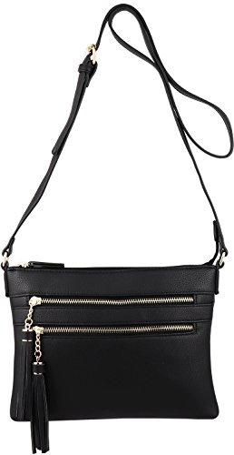 B BRENTANO Vegan Multi-Zipper Crossbody Handbag Purse with Tassel Accents (Black 1) by B BRENTANO (Image #2)