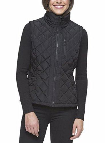Andrew Marc Women's Quilted Vest with Ribbed Knit side Panels and Collar (2X, Black)