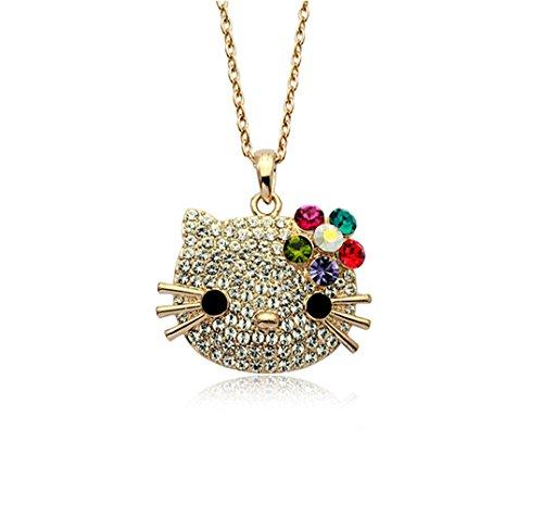 Swarovski Austrian Crystal Necklace (Gold Plated Hello Kitty Multi-color Swarovski Austrian Elements Crystal Pendant Necklace Fashion Jewelry)
