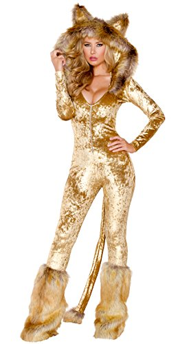 Yandy Judy Women's Exclusive Halloween Deluxe Furry Cowardly Velvet Lion Costume M/L Brown -