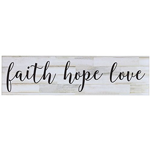 Family Gift Sign for livingroom entryway kitchen bedroom wall art decor print By LifeSong Milestones (Faith Hope Love) (By Faith Love Plaque)
