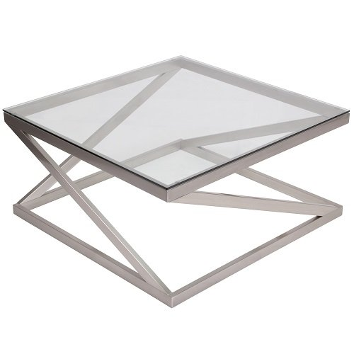 Signature Design by Ashley - Coylin Square Cocktail Table - Glass and Chrome Metal