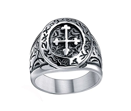 Sale! Men's 316l Stainless Steel Silver Black Celtic Medieval Cross Oval Classic Vintage Biker Ring Size 7 - 13 (10.5)