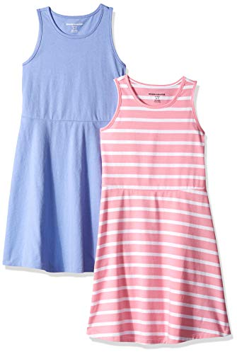 Amazon Essentials Big Girls' 2-Pack Tank Dress, Stripe/Purple, Medium]()