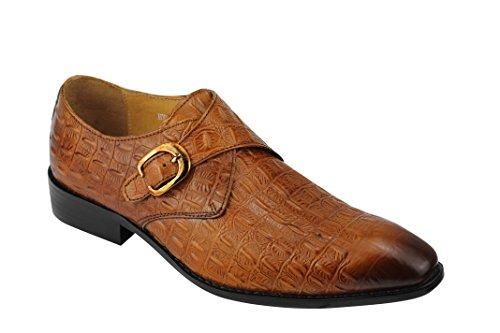 Véritable pour homme Bicolore Motif moine Sangle en cuir effet peau de Crocodile Vintage chaussures