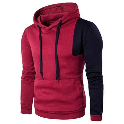 YANG-YI Hot Men's Autumn Cotton Long Sleeve Hooded Shirt T-shirts Hoodie Tops Blouse (XL, Red) by YANG-YI Mens