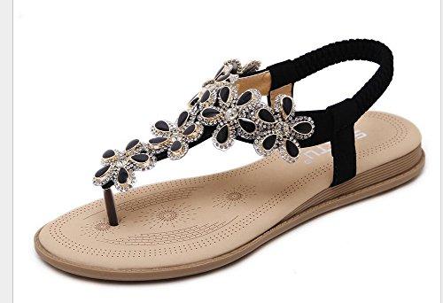 Vocni Women's Crystal Rhinestone Beaded Wedding Sandals Platform Wedge Dress Sandals Slippers Black NbDAx