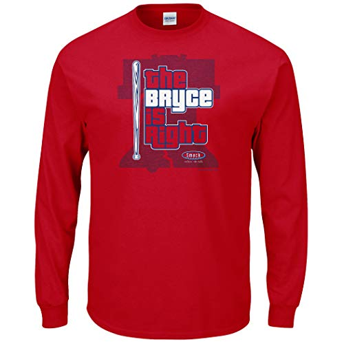 Philadelphia Baseball Fans. The Bryce is Right Red T-Shirt (Sm-5X) (Long Sleeve, Large)
