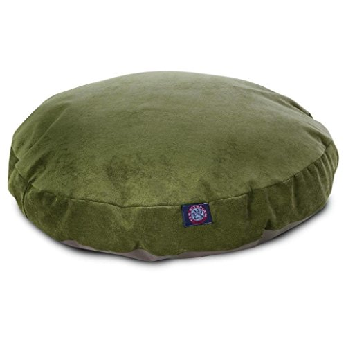 Fern Slipcover - 1 Piece Fern Green Solid Color 42 Inches Large Round Shaped Woven Plush Foam Mattress Pet Bed, Dark Green Mat Bedding for Big Dog, Durable Removable Zippered Slipcover Soft, Faux Polyester