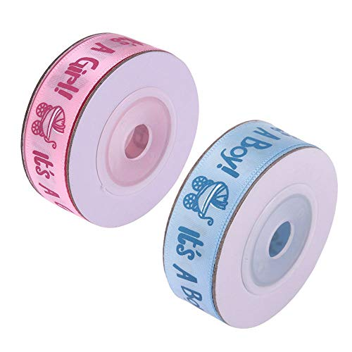 IETONE 2 Roll It's A BOY/Girl Polyester Satin Ribbon Perfect for Gift Package Wrapping Scrapbooking Craft DIY Baby Shower -