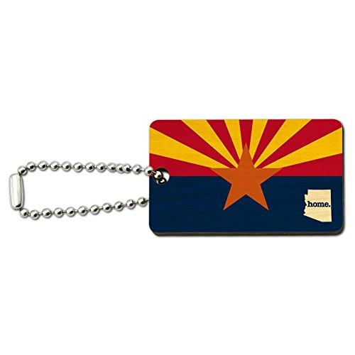 Arizona AZ Home State Wood Wooden Rectangle Key Chain - Flag