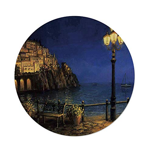 Amalfi Bar Table Outdoor (Polyester Round Tablecloth,Italy,Starry Romantic Evening at The Coast Amalfi in Italy Oil Painting Style,Navy Blue Brown,Dining Room Kitchen Picnic Table Cloth Cover Outdoor Indoor)