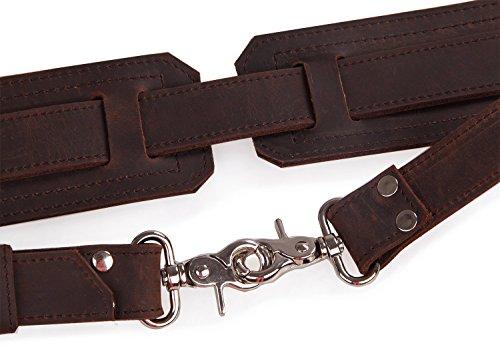 Polare Thick Full Grain Leather Shoulder Briefcase Satchel Messenger Bag For Men(Dark Brown) by Polare (Image #5)