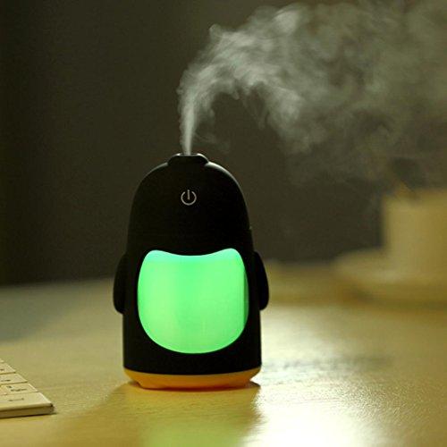 Mikey Store Portable Penguin Humidifier Mini Night Light USB Humidifier Air Purifier (Green)
