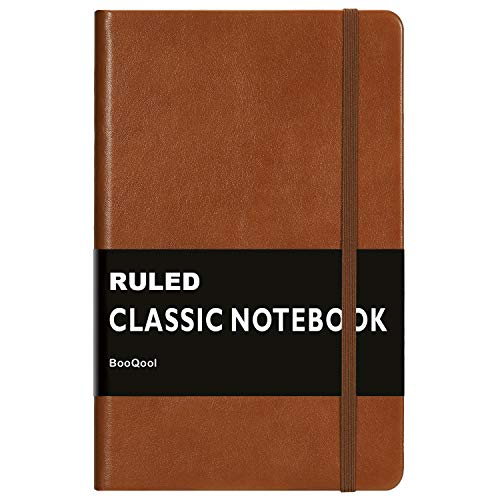 Ruled Notebook/Journal - Premium Thick Paper Faux Leather Classic Writing Notebook, Black, Hard Cover, Lined (5 x 8.25) (Leather Small Journal)