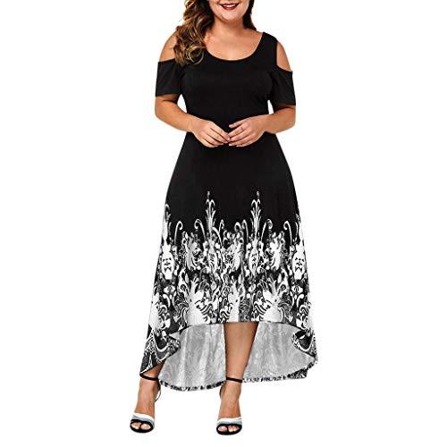 Price comparison product image Peacur Women Short Sleeve Dresses Summer Plus Size Print O-Neck Off-Shoulder Waist Casual Tank Long Dress (Black,  XXXXL)