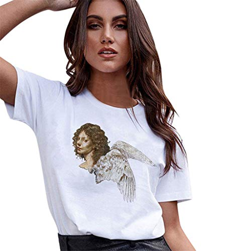 Sherostore ♡ Womens Baby Angel Kiss Print Funny T-Shirt Summer Casual T-Shirts Round Neck Short Sleeve Top Tee -
