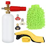 Foam Cannon Pressure Washer Car Wash Adjustable Snow Foam 1 Liter( 34 OZ ) Bottle With 1/4' Quick Connector Microfiber Cleaning Glove 2 Pack Microfiber Towel 3 Pressure Washer Nozzles for Cleaning