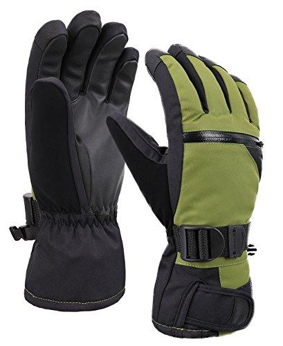 Men's 3M Thinsulate Weatherproof Touchscreen Snow Ski Gloves with Zipper Pocket