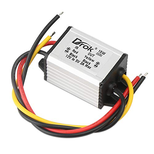 12v to 5v DC Converter, DROK Voltage Regulator Board Power Supply Module, DC 6.3-22V 12V to 5V 3A 15W Waterproof Car Volt Step Down Buck Converter