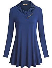 Miusey Women's Long Sleeve Cowl Neck Form Fitting Casual...