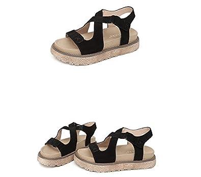 Damen Sandalen Aus Leder, Flache Unterseite Clip Toe Round Head Gürtelschnalle Atmungsaktiv, Weiß, 39