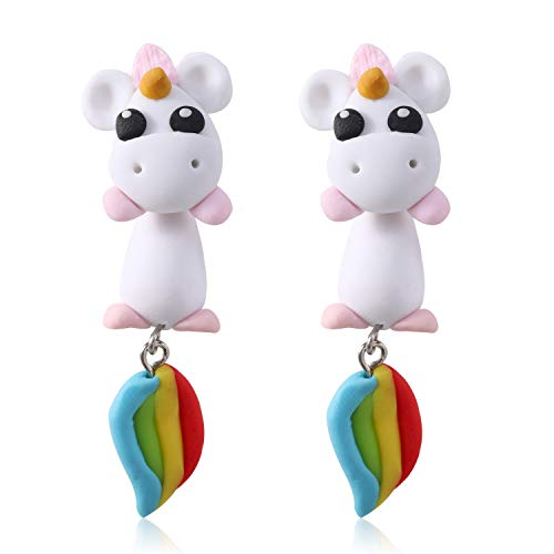 (925 Silver Pin Handmade Polymer Clay Cute Hypoallergenic Sterling Silver Unicorn Earrings For Women Little Girls Kids,3D Animal Stud Earrings Unicorn Birthday Party Gifts (unicorn))