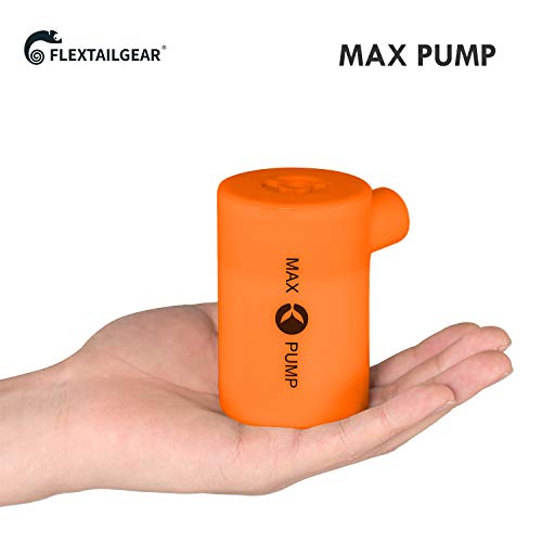 FLEXTAILGEAR - MAX Pump Portable Air Pump with 3600mAH Battery USB Rechargeable lightest Air Pump -Quick Inflate Deflate for Air Mattress, Pool Toys, Floats, Swimming Ring, Lifebuoy, Air Bed(Orange)