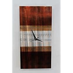 Statements2000 Modern Silver, Mahogany and Tan Abstract Wall Clock Sculpture - 3D Functional Home Office Decor Art Accent - Nocturnal by Jon Allen - 24-inch